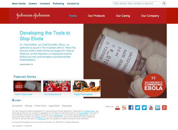 Johnson & Johnson Website